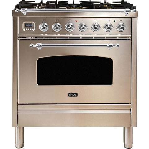 "Image of ILVE 30"" Nostalgie Series Dual Fuel Natural Gas Range with 5 Sealed Burners 3 cu. ft. Capacity True Convection Oven with Chrome Trim in Stainless Steel (UPN76DMPIX) - Shop For Kitchens"