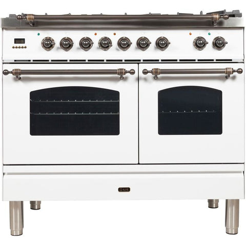 "Image of ILVE 40"" Nostalgie Series Dual Fuel Natural Gas Range with 5 Sealed Brass Burners 3.55 cu. ft. Total Capacity True Convection Oven Griddle with Bronze Trim in White (UPDN100FDMPBY) - Shop For Kitchens"