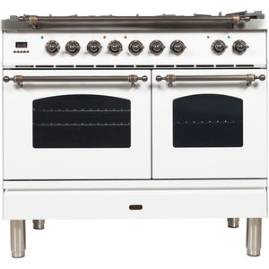 "ILVE 40"" Nostalgie Series Dual Fuel Natural Gas Range with 5 Sealed Brass Burners 3.55 cu. ft. Total Capacity True Convection Oven Griddle with Bronze Trim in White (UPDN100FDMPBY) - Shop For Kitchens"
