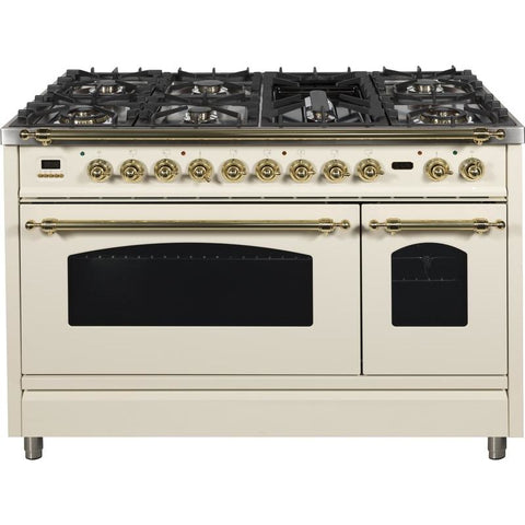 "Image of ILVE 48"" Nostalgie Series Dual Fuel Natural Gas Range with 7 Sealed Burners 5 cu. ft. Total Capacity True Convection Oven Griddle with Brass Trim in Antique White (UPN120FDMPA) - Shop For Kitchens"