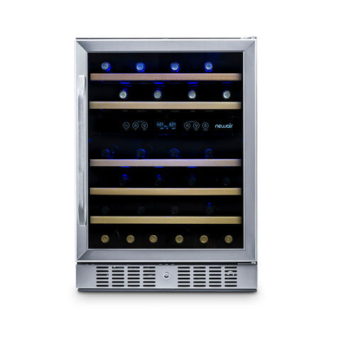"NewAir 24"" Built-in 46 Bottle Dual Zone Wine Fridge in Stainless Steel (AWR-460DB) - Shop For Kitchens"