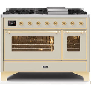 "ILVE 48"" Majestic II Series Dual Fuel Liquid Propane Range with 8 Burners and Griddle 5.02 cu. ft. Total Oven Capacity TFT Oven Control Display Brass Trim in Antique White (UM12FDNS3AWGLP) - Shop For Kitchens"