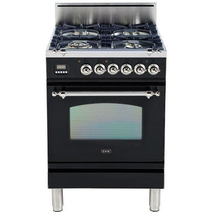 "ILVE 24"" Nostalgie Series Liquid Propane Range with Chrome Trim in Gloss Black (UPN60DVGGNXLP) - Shop For Kitchens"
