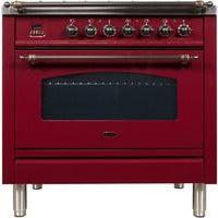"Image of ILVE 36"" Nostalgie Series Dual Fuel Liquid Propane Range with 5 Sealed Brass Burners 3 cu. ft. Capacity True Convection Oven with Bronze Trim in Burgundy (UPN90FDMPRBYLP) - Shop For Kitchens"