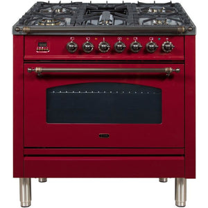 "ILVE 36"" Nostalgie Series Dual Fuel Liquid Propane Range with 5 Sealed Brass Burners 3 cu. ft. Capacity True Convection Oven with Bronze Trim in Burgundy (UPN90FDMPRBYLP) - Shop For Kitchens"