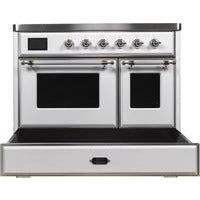 "Image of ILVE 40"" Majestic II Series Induction Range with 6 Elements 3.82 cu. ft. Total Oven Capacity TFT Oven Control Display Chrome Trim in White (UMDI10NS3WHC) - Shop For Kitchens"