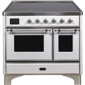 "ILVE 40"" Majestic II Series Induction Range with 6 Elements 3.82 cu. ft. Total Oven Capacity TFT Oven Control Display Chrome Trim in White (UMDI10NS3WHC) - Shop For Kitchens"