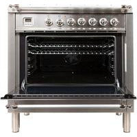 "ILVE 36"" Nostalgie Series Dual Fuel Liquid Propane Range with 5 Sealed Brass Burners 3 cu. ft. Capacity True Convection Oven with Chrome Trim in Stainless Steel (UPN90FDMPIXLP) - Shop For Kitchens"