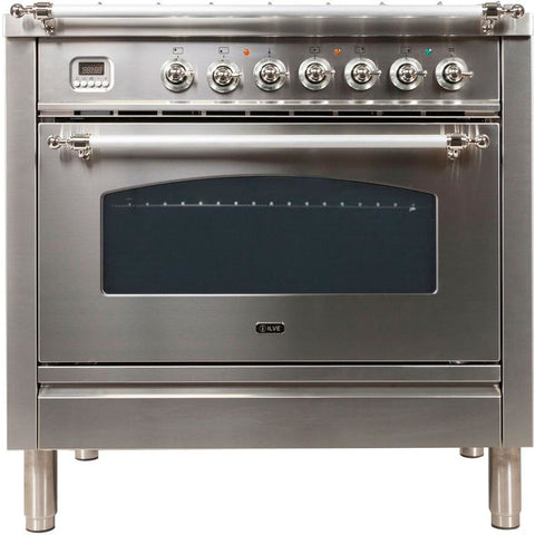 "Image of ILVE 36"" Nostalgie Series Dual Fuel Liquid Propane Range with 5 Sealed Brass Burners 3 cu. ft. Capacity True Convection Oven with Chrome Trim in Stainless Steel (UPN90FDMPIXLP) - Shop For Kitchens"