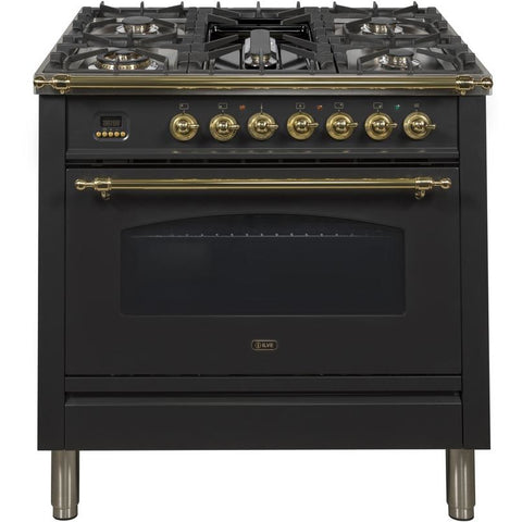 "Image of ILVE 36"" Nostalgie Series Dual Fuel Natural Gas Range with 5 Sealed Brass Burners 3 cu. ft. Capacity True Convection Oven with Brass Trim in Glossy Black (UPN90FDMPN) - Shop For Kitchens"