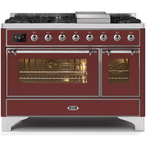 "ILVE 48"" Majestic II Dual Fuel Liquid Propane Range with 8 Burners and Chrome Trim in Burgundy (UM12FDNS3BUCLP) - Shop For Kitchens"