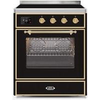 "Image of ILVE 30"" Majestic II Induction Range with Brass Trim in Glossy Black (UMI30NE3BKG) - Shop For Kitchens"