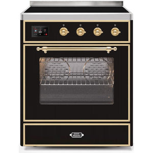 "ILVE 30"" Majestic II Induction Range with Brass Trim in Glossy Black (UMI30NE3BKG) - Shop For Kitchens"