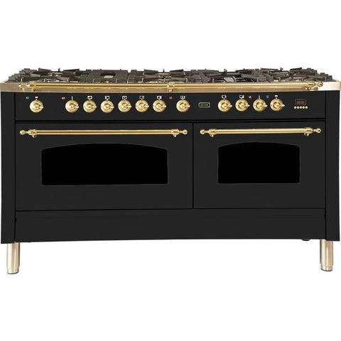 "Image of ILVE 60"" Nostalgie Series Dual Fuel Natural Gas Range with 8 Sealed Burners 5.99 cu. ft. Total Capacity True Convection Oven Griddle with Brass Trim in Matte Graphite (UPN150FDMPM) - Shop For Kitchens"
