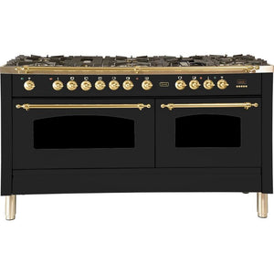 "ILVE 60"" Nostalgie Series Dual Fuel Natural Gas Range with 8 Sealed Burners 5.99 cu. ft. Total Capacity True Convection Oven Griddle with Brass Trim in Matte Graphite (UPN150FDMPM) - Shop For Kitchens"