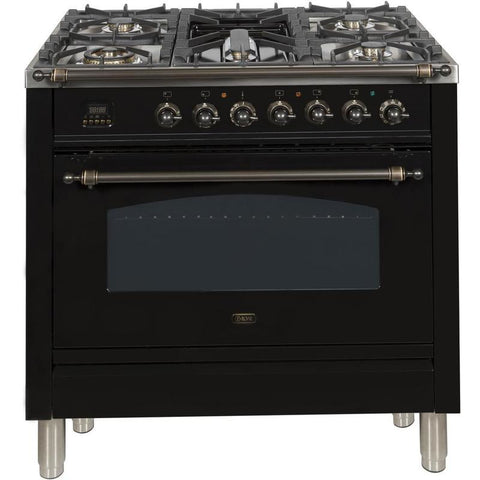 "Image of ILVE 36"" Nostalgie Series Dual Fuel Liquid Propane Range with 5 Sealed Brass Burners 3 cu. ft. Capacity True Convection Oven with Bronze Trim in Glossy Black (UPN90FDMPNYLP) - Shop For Kitchens"