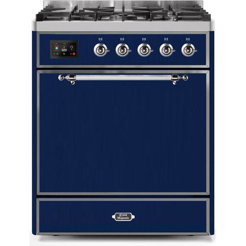 "Image of ILVE 30"" Majestic II Series Dual Fuel Natural Gas Range with 5 Burners 2.3 cu. ft. Oven Capacity TFT Oven Control Display Chrome Trim in Midnight Blue (UM30DQNE3MBC) - Shop For Kitchens"