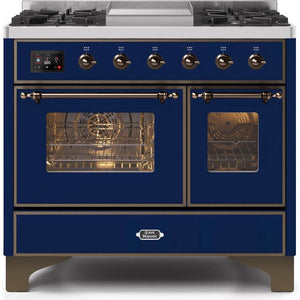 "ILVE 40"" Majestic II Series Dual Fuel Liquid Propane Range with 6 Sealed Burners and Griddle 3.82 cu. ft. Total Oven Capacity TFT Oven Control Display Bronze Trim in Midnight Blue (UMD10FDNS3MBBLP) - Shop For Kitchens"