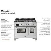 "Image of ILVE 40"" Majestic II Series Dual Fuel Natural Gas Range with 6 Sealed Burners and Griddle 3.82 cu. ft. Total Oven Capacity TFT Oven Control Display Chrome Trim in White (UMD10FDNS3WHC) - Shop For Kitchens"