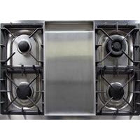"Image of ILVE 40"" Majestic II Series Dual Fuel Liquid Propane Range with 6 Sealed Burners and Griddle 3.82 cu. ft. Total Oven Capacity TFT Oven Control Display Bronze Trim in Midnight Blue (UMD10FDNS3MBBLP) - Shop For Kitchens"