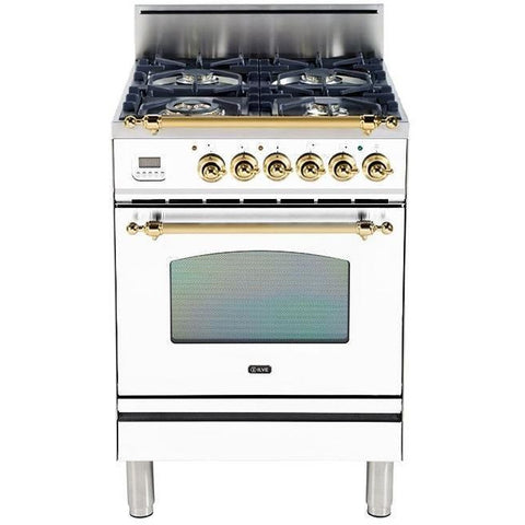 "Image of ILVE 24"" Nostalgie Series Gas Range with Warming Drawer and Brass Trim in True White (UPN60DVGGBLP) - Shop For Kitchens"