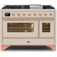 "ILVE 48"" Majestic II Dual Fuel Range with 8 Burners and Copper Trim in Antique White (UM12FDNS3AWP) - Shop For Kitchens"