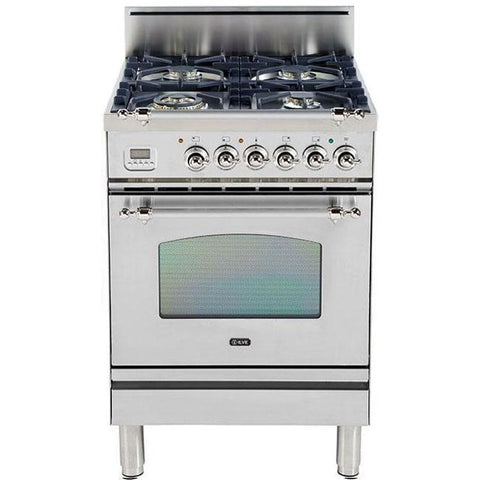 "Image of ILVE 24"" Nostalgie Series Liquid Propane Range with Chrome Trim in Stainless Steel (UPN60DVGGIXLP) - Shop For Kitchens"