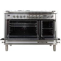 "ILVE 48"" Nostalgie Series Dual Fuel Natural Gas Range with 7 Sealed Burners 5 cu. ft. Total Capacity True Convection Oven Griddle with Chrome Trim in Stainless Steel (UPN120FDMPIX) - Shop For Kitchens"