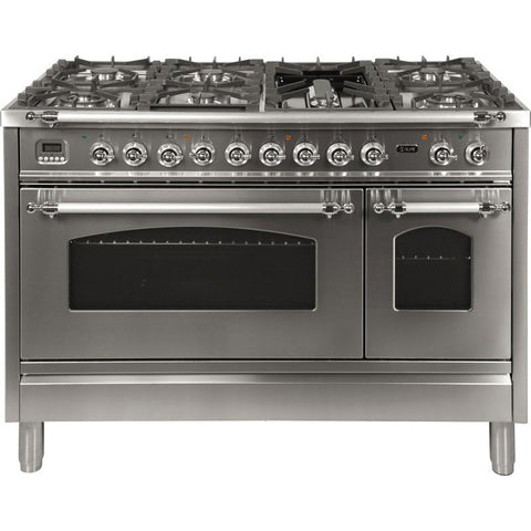 "Image of ILVE 48"" Nostalgie Series Dual Fuel Natural Gas Range with 7 Sealed Burners 5 cu. ft. Total Capacity True Convection Oven Griddle with Chrome Trim in Stainless Steel (UPN120FDMPIX) - Shop For Kitchens"