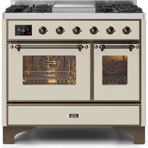 "Image of ILVE 40"" Majestic II Series Dual Fuel Liquid Propane Range with 6 Sealed Burners and Griddle 3.82 cu. ft. Total Oven Capacity TFT Oven Control Display Bronze Trim in Antique White (UMD10FDNS3AWBLP) - Shop For Kitchens"