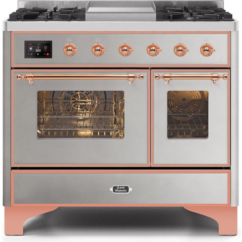 "Image of ILVE 40"" Majestic II Series Dual Fuel Liquid Propane Range with 6 Sealed Burners and Griddle 3.82 cu. ft. Total Oven Capacity TFT Oven Control Display Copper Trim in Stainless Steel (UMD10FDNS3SSPLP) - Shop For Kitchens"