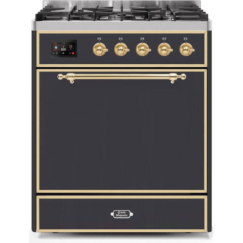 "Image of ILVE 30"" Majestic II Dual Fuel Liquid Propane Range with Brass Trim in Matte Graphite (UM30DQNE3MGGLP) - Shop For Kitchens"