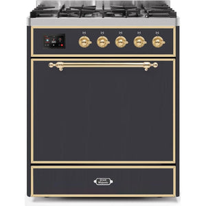 "ILVE 30"" Majestic II Dual Fuel Liquid Propane Range with Brass Trim in Matte Graphite (UM30DQNE3MGGLP) - Shop For Kitchens"