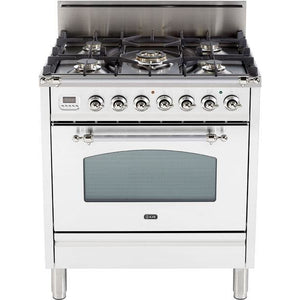 "ILVE 30"" Nostalgie Series Freestanding Gas Range with 5 Burners 3 cu. ft. Oven Capacity Digital Clock and Timer Full Width Warming Drawer 2 Oven Racks and Chrome Trim: True White (UPN76DVGGBXLP) - Shop For Kitchens"