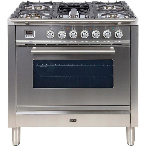 "Image of ILVE 40"" Professional Plus Series Freestanding Dual Fuel Liquid Propane Range with 2 Ovens 6 Sealed Burners Warming Drawer and 3.5 cu. ft. Total Oven Capacity with Chrome Trim in Stainless Steel (UPDW1006DMPILP) - Shop For Kitchens"