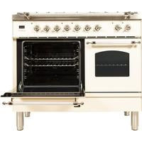 "Image of ILVE 40"" Nostalgie Series Dual Fuel Liquid Propane Range with 5 Sealed Brass Burners 3.55 cu. ft. Total Capacity True Convection Oven Griddle with Chrome Trim in Antique White (UPDN100FDMPAXLP) - Shop For Kitchens"