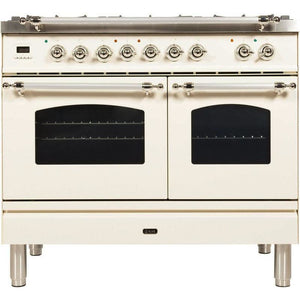 "ILVE 40"" Nostalgie Series Dual Fuel Liquid Propane Range with 5 Sealed Brass Burners 3.55 cu. ft. Total Capacity True Convection Oven Griddle with Chrome Trim in Antique White (UPDN100FDMPAXLP) - Shop For Kitchens"