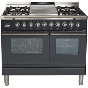 ILVE 40 Inch Matte Graphite Dual Fuel Liquid Propane Freestanding Range (UPDW100FDMPMLP) - Shop For Kitchens