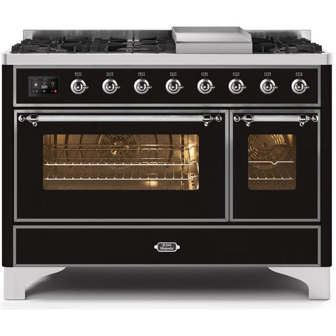"Image of ILVE 48"" Majestic II Dual Fuel Liquid Propane Range with 8 Burners and Chrome Trim in Glossy Black (UM12FDNS3BKCLP) - Shop For Kitchens"