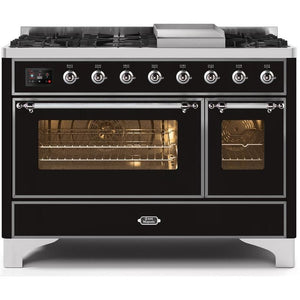 "ILVE 48"" Majestic II Dual Fuel Liquid Propane Range with 8 Burners and Chrome Trim in Glossy Black (UM12FDNS3BKCLP) - Shop For Kitchens"