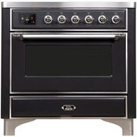 "Image of ILVE 36"" Majestic II Series Induction Range with 5 Elements 3.5 cu. ft. Oven Capacity TFT Oven Control Display Chrome Trim in Matte Graphite (UMI09NS3MGC) - Shop For Kitchens"