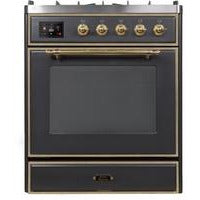 "ILVE 30"" Majestic II Series Liquid Propane be Dual Fuel Liquid Propane Range with 5 Burners 2.3 cu. ft. Oven Capacity TFT Oven Control Display Brass Trim in Matte Graphite (UM30DNE3MGGLP) - Shop For Kitchens"