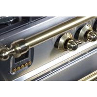 "ILVE 30"" Nostalgie Dual Fuel Liquid Propane Range with Brass Trim in Stainless Steel (UPN76DMPILP) - Shop For Kitchens"