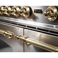 "Image of ILVE 30"" Nostalgie Dual Fuel Liquid Propane Range with Brass Trim in Stainless Steel (UPN76DMPILP) - Shop For Kitchens"