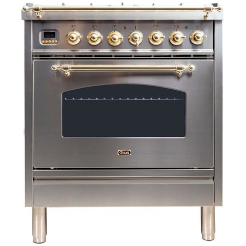 "ILVE 30"" Nostalgie Series Dual Fuel Natural Gas Range with 5 Sealed Burners 3 cu. ft. Capacity True Convection Oven with Brass Trim in Stainless Steel (UPN76DMPI) - Shop For Kitchens"