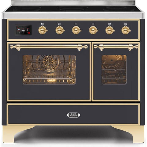"Image of ILVE 40"" Majestic II Series Induction Range with 6 Elements 3.82 cu. ft. Total Oven Capacity TFT Oven Control Display Brass Trim in Matte Graphite (UMDI10NS3MGG) - Shop For Kitchens"
