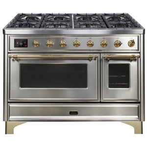 "ILVE 48"" Majestic II Dual Fuel Range with 8 Burners and Brass Trim in Stainless Steel (UM12FDNS3SSG) - Shop For Kitchens"