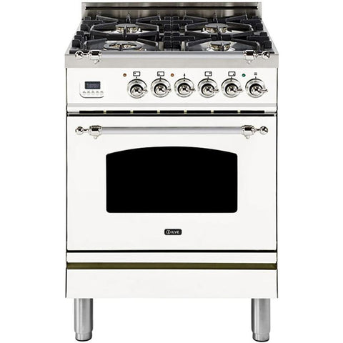 "Image of ILVE 24"" Nostalgie Series Dual Fuel Liquid Propane Range with Warming Drawer and Chrome Trim in White (UPN60DMPBXLP) - Shop For Kitchens"