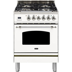 "ILVE 24"" Nostalgie Series Dual Fuel Liquid Propane Range with Warming Drawer and Chrome Trim in White (UPN60DMPBXLP) - Shop For Kitchens"