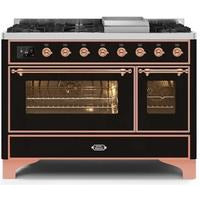 "ILVE 48"" Majestic II Dual Fuel Liquid Propane Range with 8 Burners and Copper Trim in Glossy Black (UM12FDNS3BKPLP) - Shop For Kitchens"